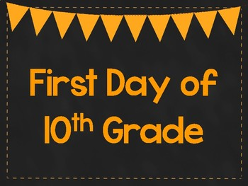 First Day of 10th Grade Printable Posters. First Day of School Signs. 6 Colors.
