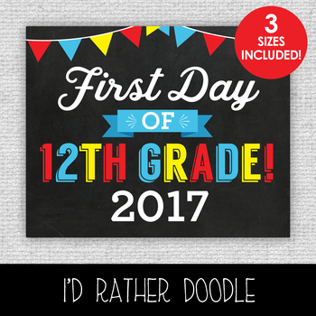 First Day of 12th Grade Printable Chalkboard Sign - 3 Sizes Included