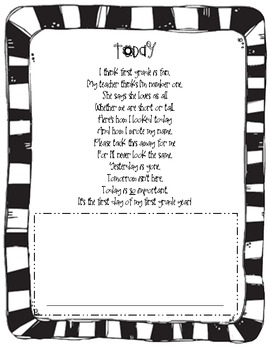 First Day of 1st Grade Poem