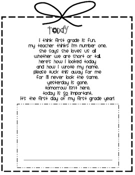 first day of 1st grade poem by kelly conner teachers pay teachers. Black Bedroom Furniture Sets. Home Design Ideas