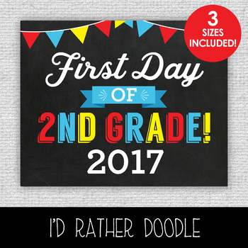 First Day of 2nd Grade Printable Chalkboard Sign - 3 Sizes Included