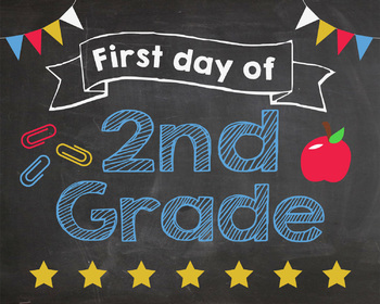 Modest image with first day of 2nd grade printable sign