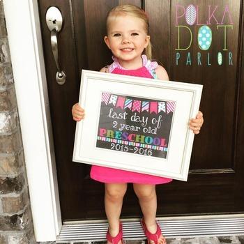 First Day of 3 Year Old Preschool - 2017-2018 School Year - Aqua Chalkboard Sign
