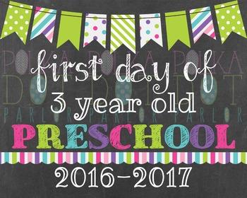 First Day of 3 Year Old Preschool 2016-2017 School Year -
