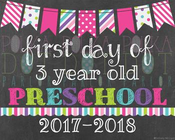 First Day of 3 Year Old Preschool 2017-2018 School Year - Pink Chalkboard Sign