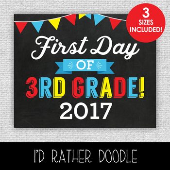 First Day of 3rd Grade Printable Chalkboard Sign - 3 Sizes Included