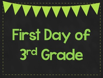 First Day of 3rd Grade Printable Posters. First Day of School Signs. 6 Colors.