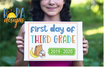First Day of 3rd Grade Sign - 1st Day of School Printable Sign - Photo Props