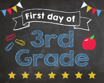 picture about First Day of 3rd Grade Sign Printable named Initial Working day of 3rd Quality indicator - PRINTABLE