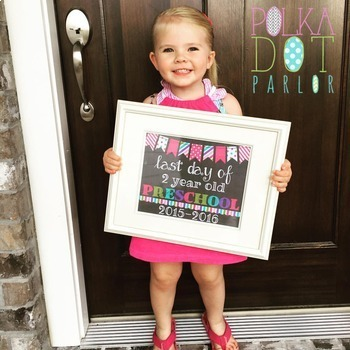 First Day of 4 Year Old Preschool 2017-2018 School Year - Pink Chalkboard Sign