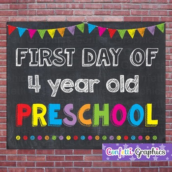 First Day of 4 Year Old Preschool Chalkboard Sign Back to School Photo Prop