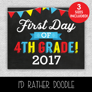 First Day of 4th Grade Printable Chalkboard Sign - 3 Sizes Included