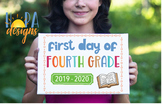 First Day of 4th Grade Sign - 1st Day of School Printable Sign - Photo Props