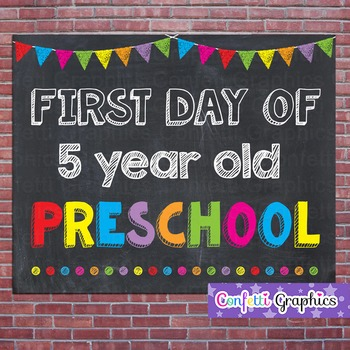 First Day of 5 Year Old Preschool Chalkboard Sign Back to School Photo Prop
