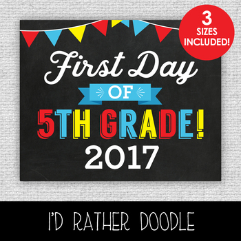 First Day of 5th Grade Printable Chalkboard Sign - 3 Sizes Included