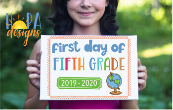 First Day of 5th Grade Sign - 1st Day of School Printable Sign - Photo Props