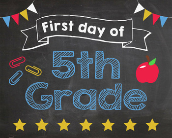 picture regarding First Day of 5th Grade Printable identify Initially Working day of 5th Quality indication - PRINTABLE