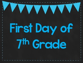 First Day of 7th Grade Printable Posters. First Day of School Signs. 6 Colors.