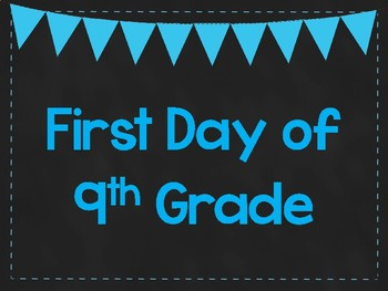 First Day of 9th Grade Printable Posters. First Day of School Signs. 6 Colors.