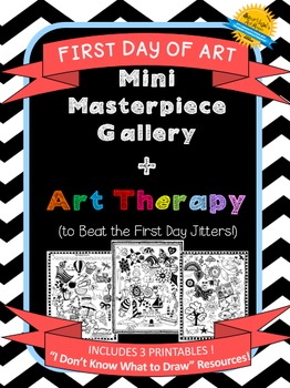 First Day of Art! Mini-Masterpeices + Art Therapy!   3 Drawing Resource Handouts
