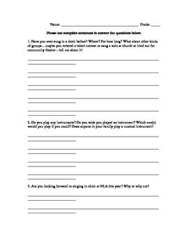 First Day of Choir bell work / survey