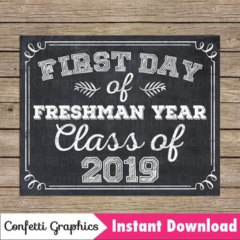 Chalkboard First Day Freshman Year Class 2019 Sign 9th Grade High School College
