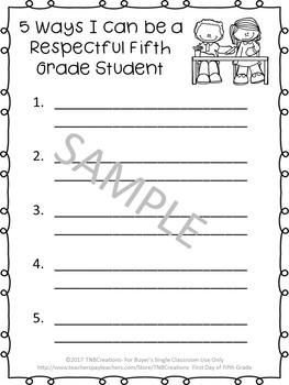 First Day of Fifth Grade Worksheets
