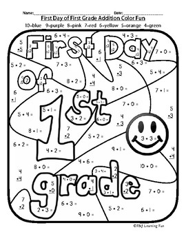 First Day of First Grade Addition Color Fun