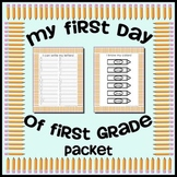 First Day of First Grade Assessment Work Packet