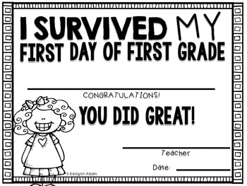 First Day of First Grade Awards - FREE - Editable
