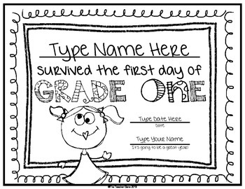First Day of School Certificate (First Grade) Editable