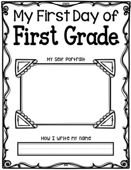 First Day of First Grade Self Portrait - EDITABLE