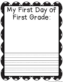 First Day Self Portrait / First Day Journal Page: First Grade Writing