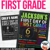 First Day of First Grade Sign Board, Printable 1st Day of School Sign EDITABLE