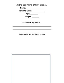 First Day of First Grade Template- Editable