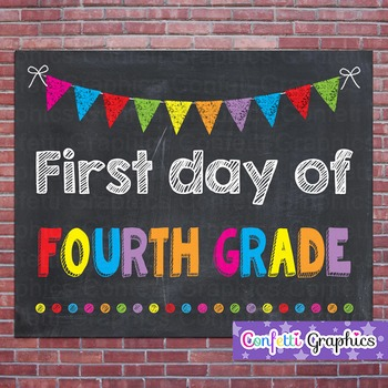 First Day of Fourth Grade 4 Chalkboard Chalk Sign Back to School Photo Prop