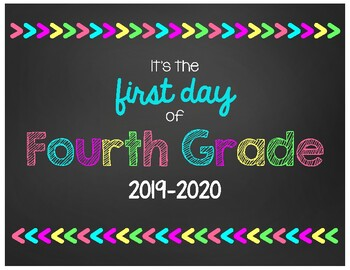 First Day of Fourth Grade Chalkboard Sign