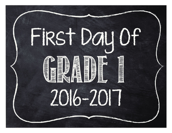 First Day of Grade 1 Printable (white)