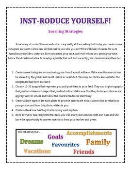 First Day of High School Icebreaker- Instroduce Yourself