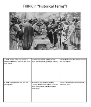 First Day of History Activity (Think Historically)