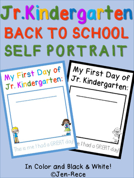 First Day of Junior Kindergarten Self Portrait