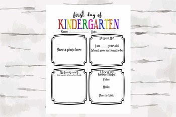 First Day of Kindergarten Activity Sheet, Back to School activity