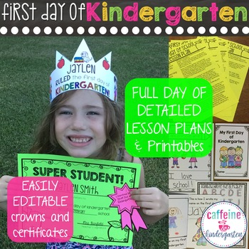 First Day of Kindergarten Lesson Plans Back to School Activities and Awards