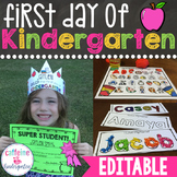First Day of Kindergarten Lesson Plans Back to School Acti