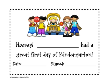 first day of kindergarten certificate teaching resources teachers