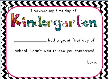 First Day of Kindergarten Certificate