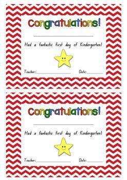 First Day of Kindergarten Certificate