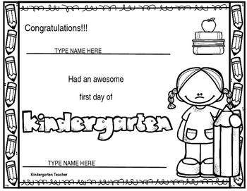 First Day of Kindergarten Certificate EDITABLE