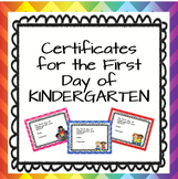 First Day of Kindergarten Certificates