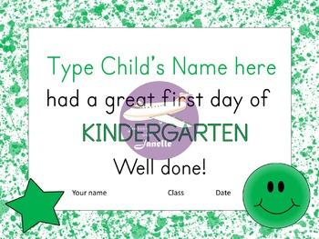 First Day of Kindergarten Certificates - 48 Editable Unique Certificates